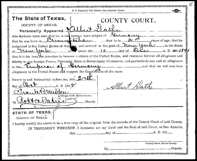 Bexar Co. TXGenWeb - Declaration of Intent to Become U.S